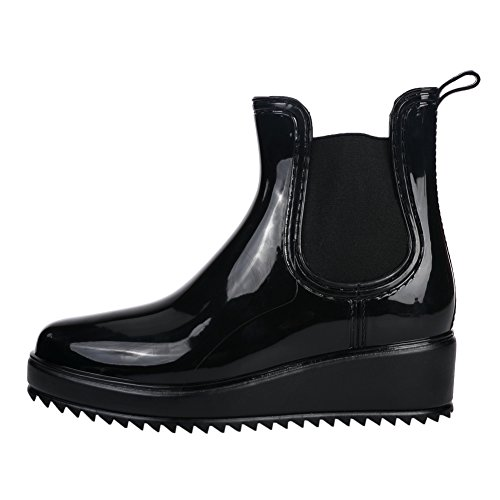 Jelly Boots Booties Wellington Patent Women Ankle Welly Elastic Chelsea 542 Black Rain aqCHR0
