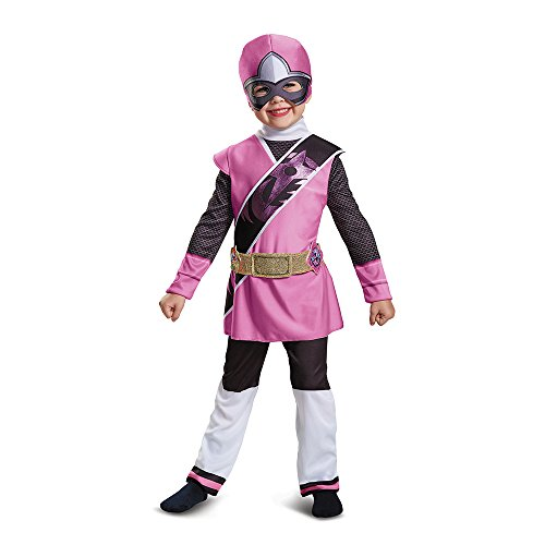 Girls Pink Ninja Costumes (Power Rangers Ninja Steel Deluxe Toddler Costume, Pink, Medium (3T-4T))