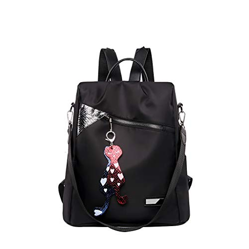 SMALLE ◕‿◕ Women Fashion Mini Backpack Purse, Crossbady Shoulder Bag Cute Quilted Nylon Back Pack Purses for Girls Black