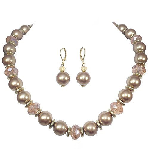 Single Strand Glass Beaded Imitation Pearl Necklace Dangle Earrings Set (Brown & Peach) ()