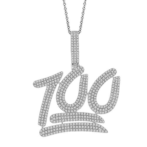 2.84ct Diamond 100 Point Emoji Mens Hip Hop Pendant Necklace in 925 Silver by Isha Luxe-Hip Hop Bling