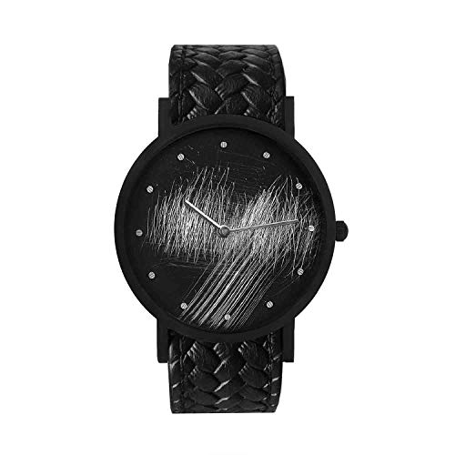 Correa de piel de becerro de cuero de cuarzo suizo de acero inoxidable South Lane, negro, reloj casual 20 (modelo: core-SL-115)