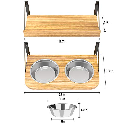 No/Brand BUYBAR Adjustable Raised Dog Bowls for Large Dogs Food and Water Height Wall Mounted Floating with Stand Shelf 2 Stainless Steel Elevated Pet Comfort Cat Feeding Bowl