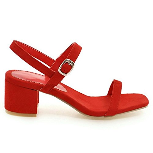 RAZAMAZA Mujer Moda Punta Abierta Tacon Ancho Fiesta Vestido Sandalias Rojo