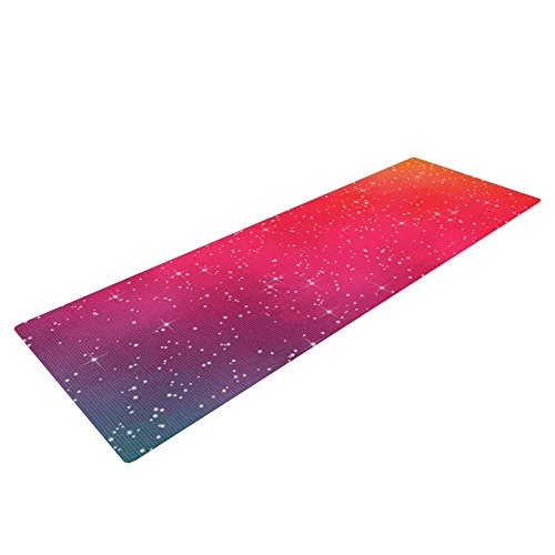 Kess InHouse Fotios Pavlopoulos Colorful Constellation Yoga Exercise Mat, Pink Glam, 72 x 24-Inch