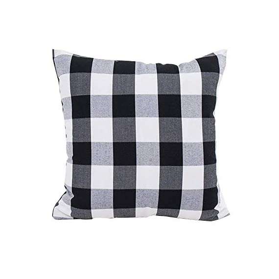 HOPLEE Outdoor Pillow Covers 20x20 Black and White Pillow Covers Buffalo Plaid Stripe and Gingham Design Set of 4 - 1.Black Throw Pillow Covers Size: 20x20 inch / 50x50cm(1-2cm deviation).This set comes with 4 pieces pillow covers,NO PILLOW INSERTS INCLUDED. 2.This set decorative pillow covers with 4 pieces black and white geometric pillow covers, the same on two sides. 3.20 x 20 pillow covers are matched with the invisible zipper. Disassemble freely, convenient to change. Help you decor your home more gorgeous with these farmhouse pillow covers. - patio, outdoor-throw-pillows, outdoor-decor - 41amoZxDqsL. SS570  -