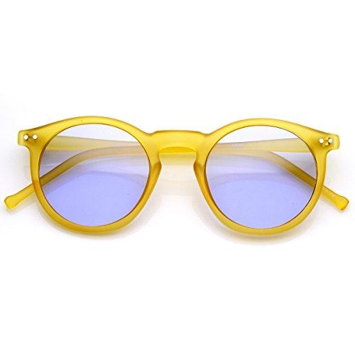 zeroUV - Classic Lux P3 Shape Keyhole Bridge Metal Rivet Circle Round Sunglasses (Frost-Yellow - Sunglasses Bridge Keyhole