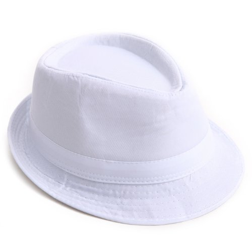 Kid's Short Brim Trilby Fedora Hat (White) ()