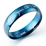 Gemini Custom Men's Dome Blue Promise Couple Wedding Titanium Ring width 6mm US Size 8 Valentines Day Gift