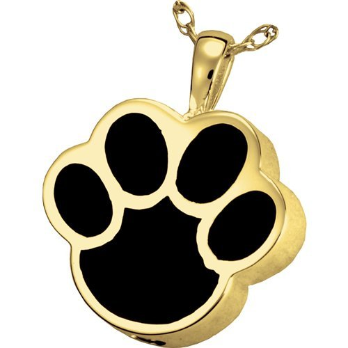 gold-Plated Sterling Silver Memorial Gallery Pets 3127gp Black Inlay Paw Print 14K gold Silver Plating Cremation Pet Jewelry