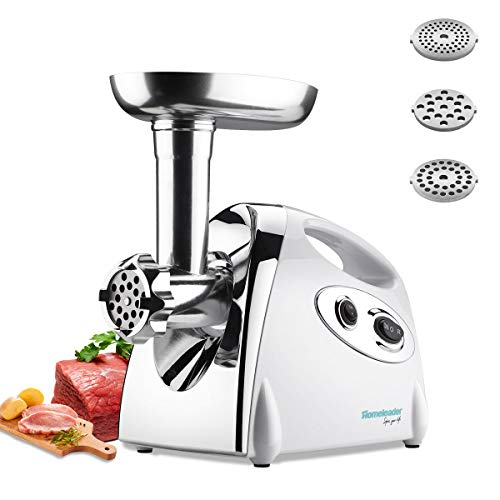 - Homeleader Meat Grinder, Sausage Maker with Reverse Function, Big Capacity Stainless Steel With 3 Grinding Plates, 800w, ETL Approved