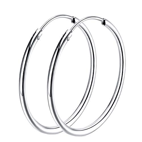 925 Sterling Silver hoop earrings For Women Girls, Polished Round Endless Fine Circle Hoops earrings gift, 1.79''