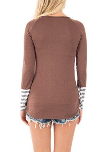 YiLianDa Mujeres Manguito Manga Larga Camiseta Ocasional Las Blusas Camisetas Marrón