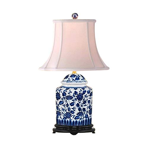 Blue and White Floral Porcelain Oval Scallop Ginger Jar Table Lamp 22