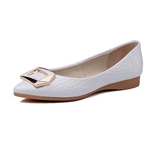 AgooLar Damen Rein Ziehen auf Spitz Zehe Flache Schuhe Weiß