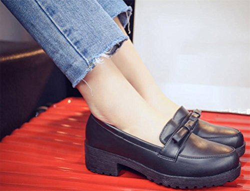 Casual Use Oxford Work Uniform Dress School Mid Black Heel Anti Shoe Shoes Skid Women TIqCv