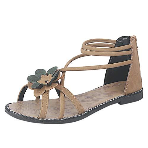 bea3e7044ed58 Claystyle Summer Floral Bohemian Sandals Open Toe Lace up Flat Sandals  (Khaki,US: 5.5)