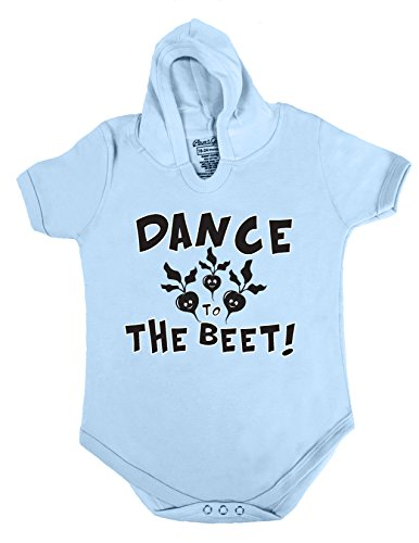 Price comparison product image 70 HOODIE BABY ROMPER SHORT SLEEVE ONESIE UNISEX FUNNY DANCE TO THE BEET GIFT POLY BAGGED A&G BRAND (6-12 Months,  Light Blue)