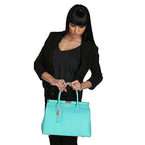 Chicca Borse Mujer Bolso con Correa de Hombro en Cuero Genuino Made in Italy 35x28x16 Cm Turquesa