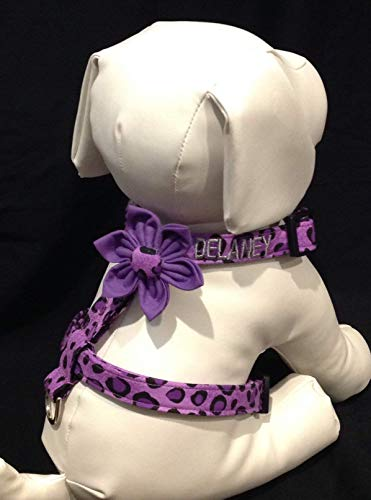 Personalized Dog Harness Flower Set - Embroide red (Optional) with Your Dogs Name - Purple Leopard Print - Sizes XS, S, M