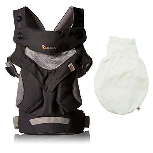 Ergobaby Four Position 360 Cool Air Mesh Baby Carrier Carbon Grey Plus Swaddler - Natural Size M/L