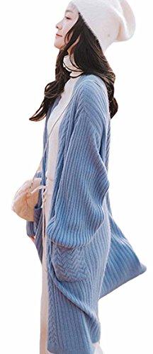 MengFan ロングカーディガン 春 レディース ニットコート 膝下丈 無地 エレガント トップス ゆったり カジュアル アウター 韓国風 ファッション 防寒着 柔らかい