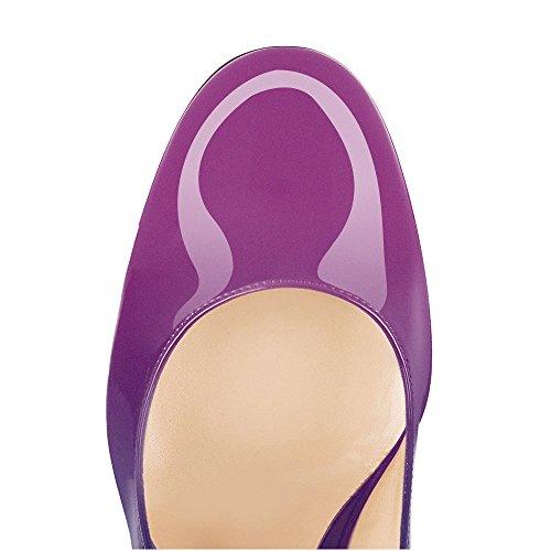 Sexy Heel Pumps cm Damen Pumps uBeauty Lack Blockabsatz Violett High 10 Pumps Heels Blau Toe Round fwxS7qzx