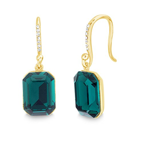 Devin Rose Emerald Cut Dangle French Wire Earrings for Women Made With Swarovski Crystal in Yellow Gold Plated 925 Sterling Silver ()