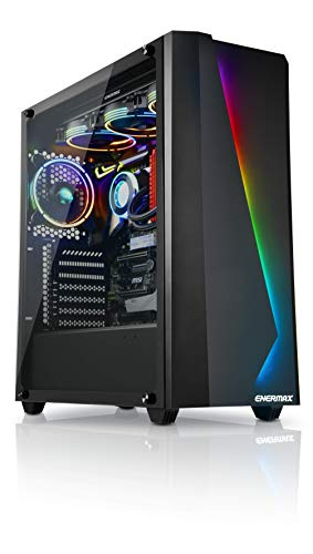 Enermax Makashi MK50 Addressable RGB Full Tower Gaming PC Case with Tempered Glass, 1x 120mm Fan Per-Installed, ECA-MK50-BB-ARGB