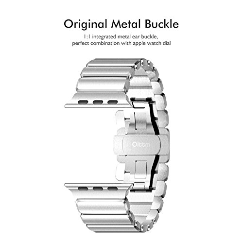 Oittm Watch Band for Apple Watch Series 4, 44mm/42mm Stainless Steel Replacement Strap Link Bracelet Metal iWatch Band with Double Button Folding Clasp for Apple Watch 4/3/2/1 44mm/42mm (Sliver)