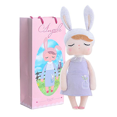 Me Too Angela Stuffed Bunny Baby Plush Rabbit Doll Birthday for Girls Kids 13 (Gray) (Purple Rabbit)