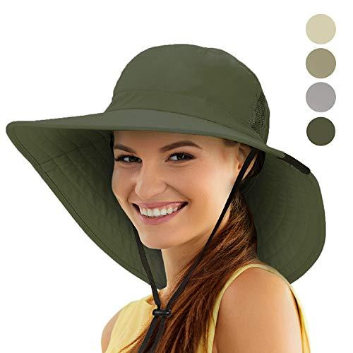 (Tirrinia Unisex Sun Hat Fishing Boonie Cap Wide Brim Safari Hat with Adjustable Drawstring for Women Kids Outdoor Hiking Hunting Boating Desert Hawaiian, Green)