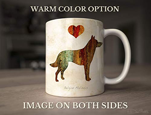 Belgian Malinois Dog Breed Mug by Dan Morris, Personalize with Dog Name