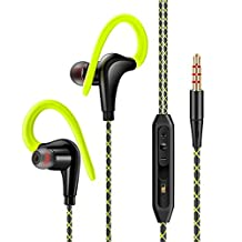 BearBizz T70 Wired 3.5mm non-slip Sweatproof Sports Headset Music Headphones with mic for Running/Gym/Outdoors, in-ear earbuds for iPhone, Samsung, iPod, and more (Green)