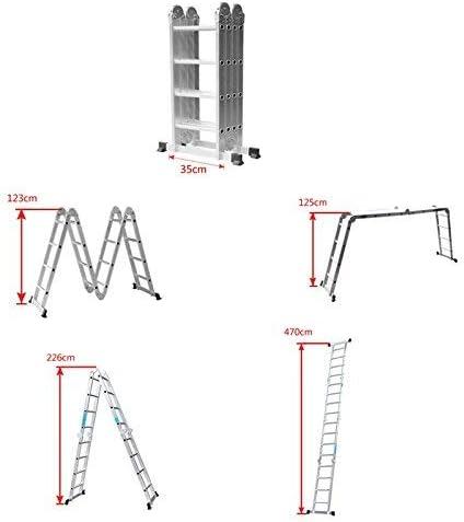 Silber, 4/×3 Stufen Froadp 340cm Aluminum Ger/üst leiter Mehrzweckleiter Multifunktions Kombileiter Klappleiter Ger/üst leiter mit 2 st/ück Plattform