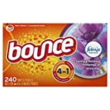 Bounce Fabric Softener and Dryer Sheets, Spring & Renewal, 240 Count - Pack of 5