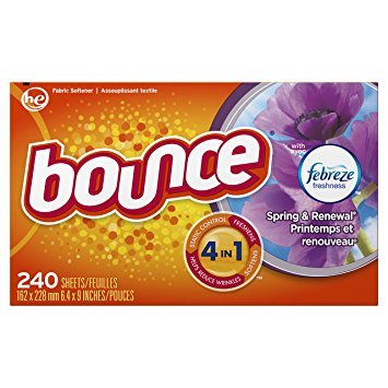 Bounce Fabric Softener and Dryer Sheets, Spring & Renewal, 240 Count - Pack of 5 by Bounce B