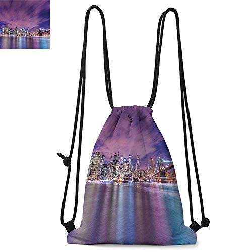 Modern Printed drawstring backpack New York City Skyline at Night with Skyscrapers Manhattan USA American Panorama Suitable for school or travel W13.8 x L17.7 Inch Violet Purple
