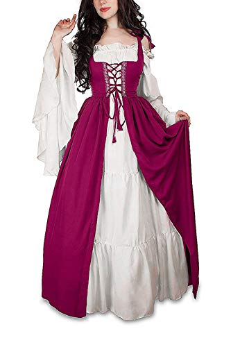 Abaowedding Womens's Medieval Renaissance Costume Cosplay Chemise and Over Dress (L/XL, Orchid)]()