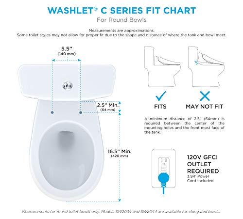 TOTO SW2033R#12 WASHLET C100 Electronic Bidet Toilet Seat with PREMIST, Round, Beige-SW2033R, Round, Sedona Beige
