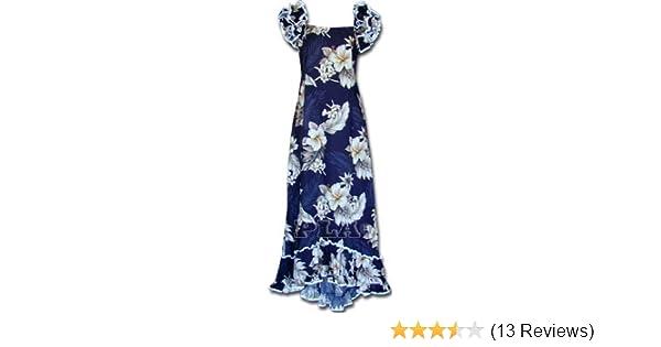 79cdc3384 Plumeria Floral Muumuu Hawaiian Dress - Womens Hawaiian Dress - Aloha Dress  - Hawaiian Clothing - 100% Cotton Navy Small at Amazon Women's Clothing  store: