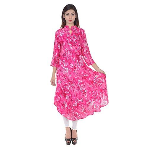 Chichi Indian Women Kurta Kurti 3/4 Sleeve Large Size Floral Print Round Anarkali Pink-White Top by CHI