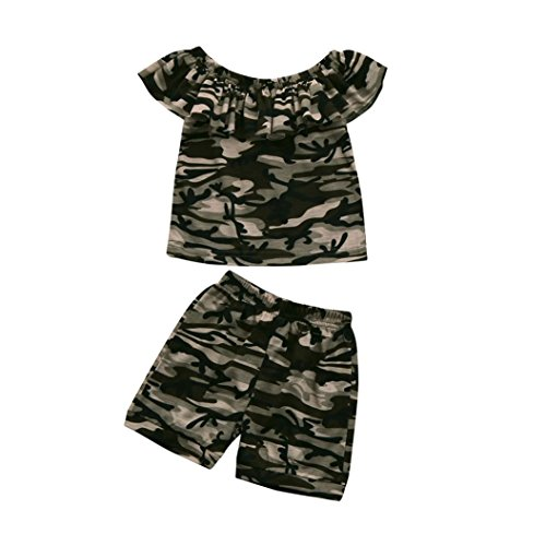 Anxinke Toddler Little Gilrs 2pcs/Set Camouflage Ruffles Boat Neck T Shirts Tops Shorts Outfits (Camouflage Ruffle)