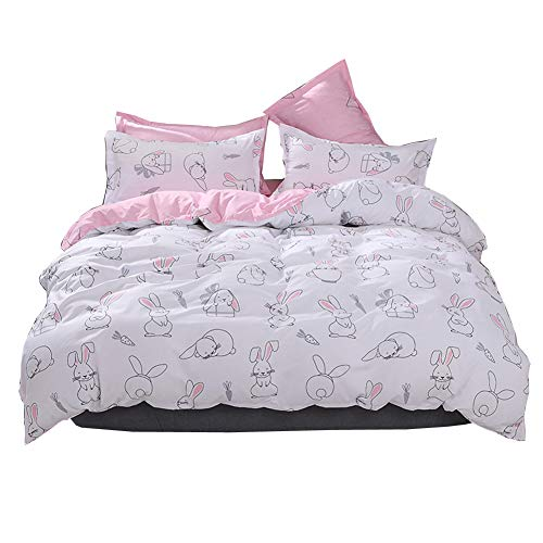 HOLY HOME Simple Hand-Painted Bunny Cartoon Bedding 4 Piece Girl's Duvet Cover Set Birthday Gift (Queen) ()