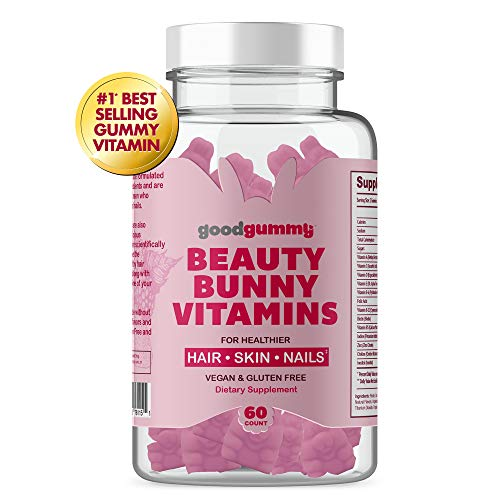 Good Gummy Beauty Bunny Sugar Hair Gummy Vitamins - Biotin Gummies Infused with Coconut Oil with Over 5000mcg Biotin + D, C, E, Multivitamin Gummies - Vegan & Gluten Free 60ct