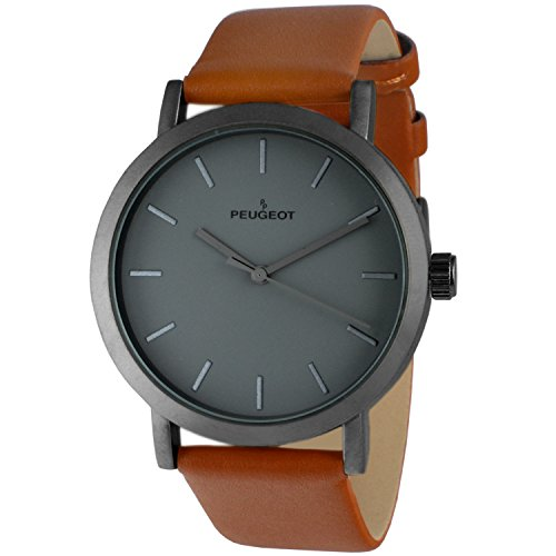 Peugeot Men's 'Matte Gun' Quartz Metal and Leather Casual Watch, Color:Brown (Model: 2059GN)