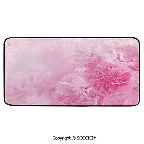 - Print Door Mat, Indoor Floor Area Carpet Compatible Bedroom,Living Room,Children, Playroom, Bathroom,Light Pink,Spring Flowers Close Up Florets Bouquet Elegance Beauty,39