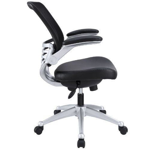 lexmod edge office chair with mesh back and black leather seat home