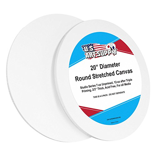 U.S. Art Supply 20 inch Diameter Round 12 Ounce Primed Gesso Professional Quality Acid-Free Stretched Canvas (Pack of 2) by US Art Supply