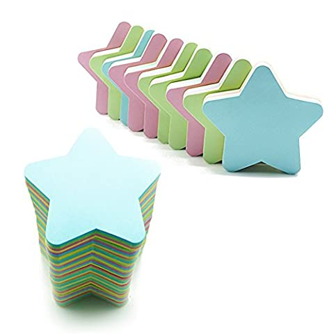 Sticky Notes Funny Memo Pad Sticker Star Shaped Multiple Color Note Pad,600 Sheets - Star Shaped Sticky Notes